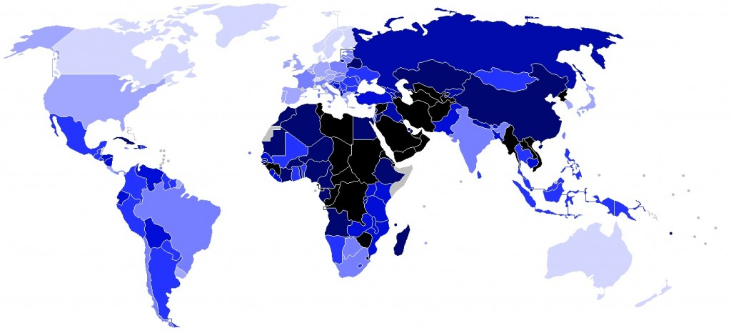민주주의 지수를 표현한 지도