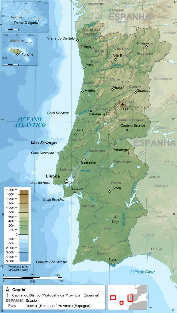 포르투갈의 행정구역 및 지형도 web