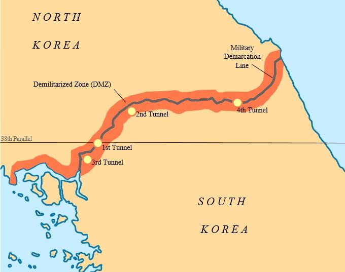 붉은 색으로 표시된 지역이 비무장지대(DMZ)이고, 푸른 선이 군사분계선(MDL)이다.