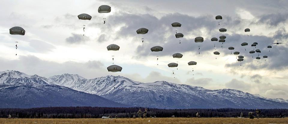 낙하산 교육 점프 군사 공 수 비행기 미국 하늘 세력 부유 공기 천개 점퍼 parachute-929132_960_720