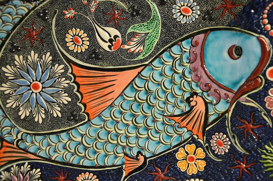 물고기 조각 모자이크 타일 아트 세라믹 다채로운 장식의 디자인 동양 아트웍 패턴 예술적인 mosaic-200864_960_720